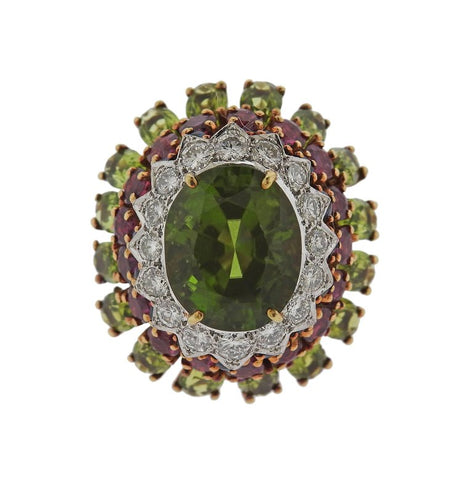 image of 1960s Peridot Ruby Sapphire Diamond Gold Cocktail Ring