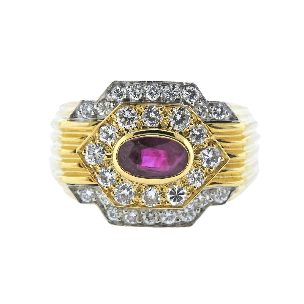 thumbnail image of David Webb Ruby Diamond Platinum Gold Ring