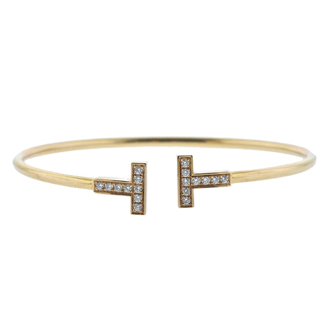 image of Tiffany & Co T Wire Diamond Gold Bracelet