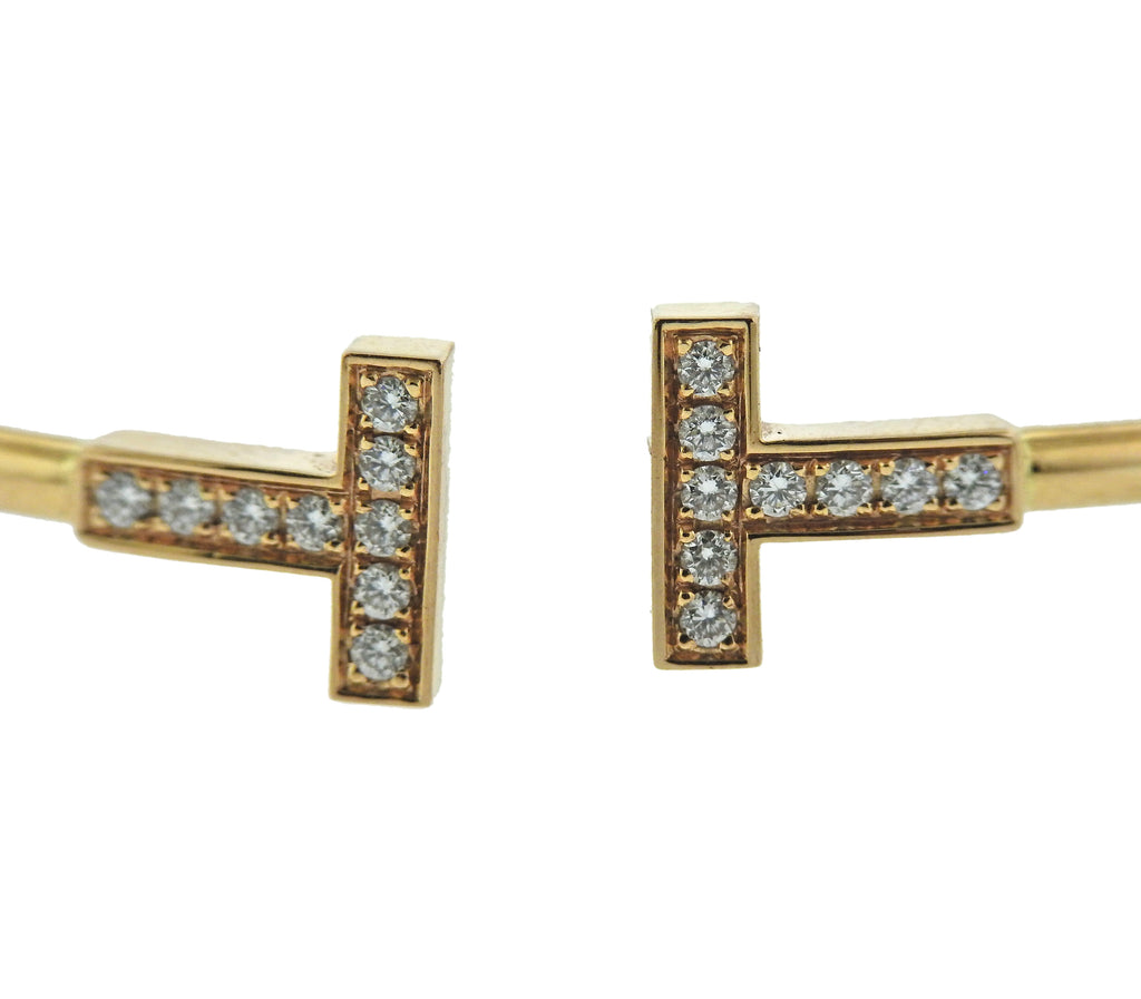 thumbnail image of Tiffany & Co T Wire Diamond Gold Bracelet