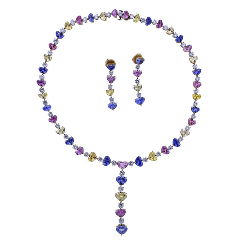 image of Bayco Multi Color Sapphire Diamond Gold Platinum Necklace Earrings Set