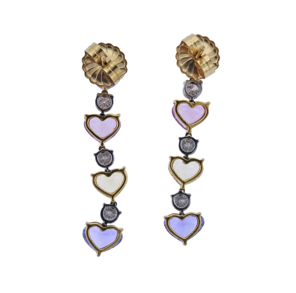 thumbnail image of Bayco Multi Color Sapphire Diamond Gold Platinum Necklace Earrings Set