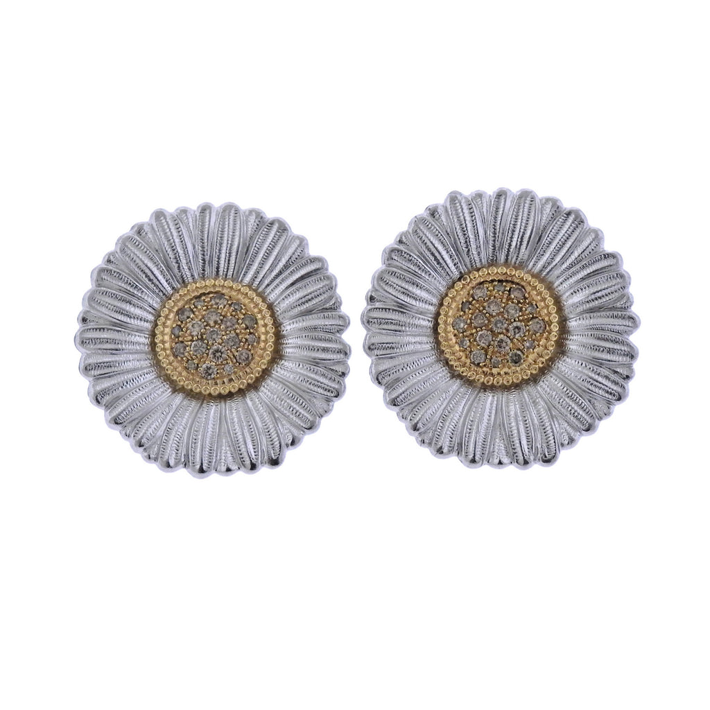 thumbnail image of Buccellati Diamond Silver Gold Blossoms Daisy Large Earrings