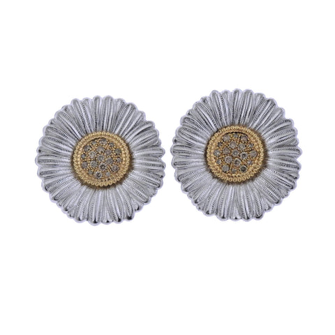 image of Buccellati Diamond Silver Gold Blossoms Daisy Large Earrings