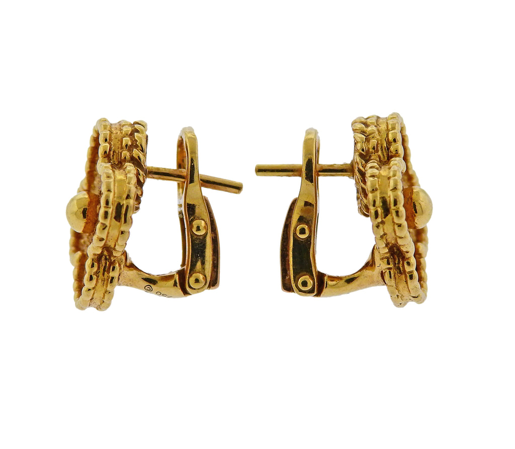 thumbnail image of Van Cleef & Arpels Vintage Alhambra Yellow Gold Earrings