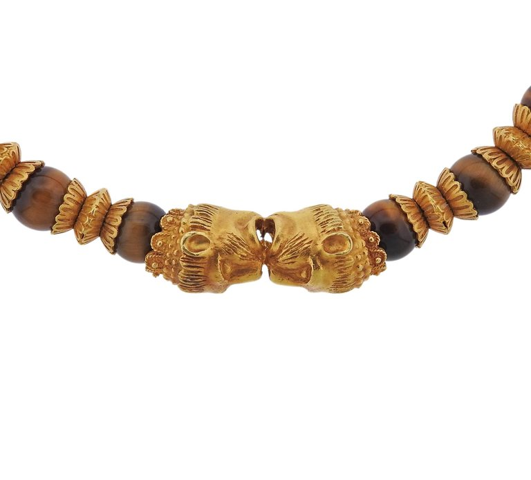 thumbnail image of Massive Lalaounis Greece Tiger's Eye Bead Gold Necklace