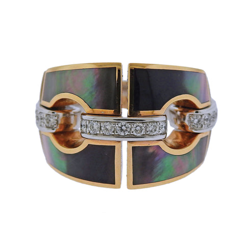 image of Chimento Mother of Pearl Diamond Gold Ring