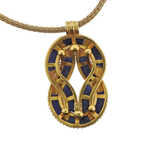 image of Lalaounis Greece Sodalite Knot Pendant Gold Necklace