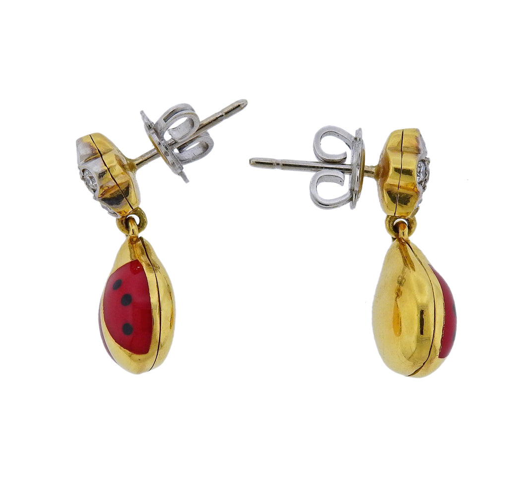 thumbnail image of Aaron Basha Gold Diamond Enamel Ladybug Earrings