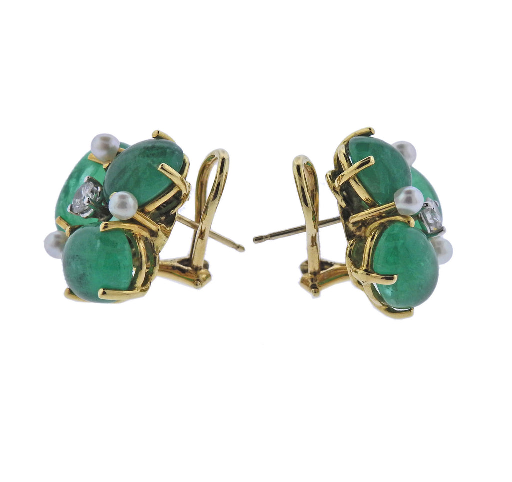 thumbnail image of Seaman Schepps Gold Diamond Pearl Emerald Earrings