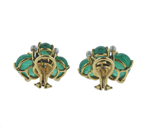 image of Seaman Schepps Gold Diamond Pearl Emerald Earrings