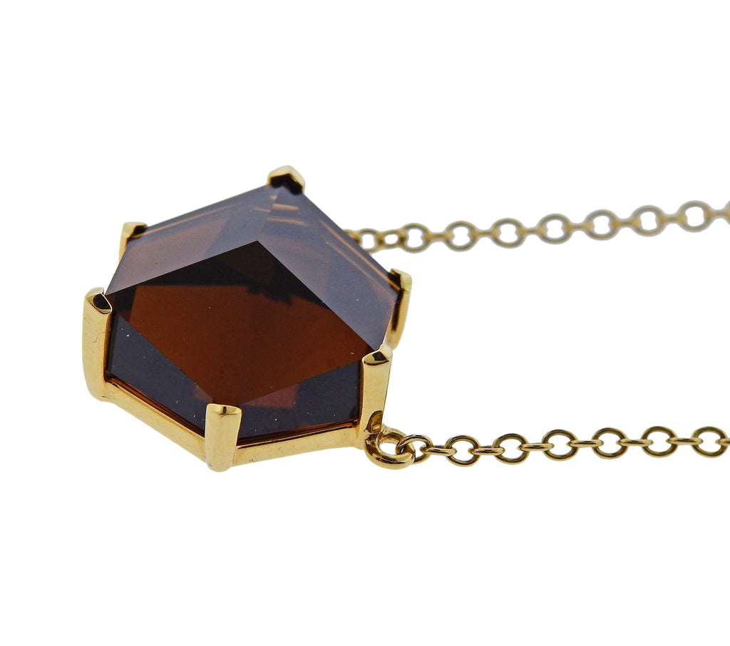 thumbnail image of Paolo Costagli Smokey Topaz Pendant Gold Necklace