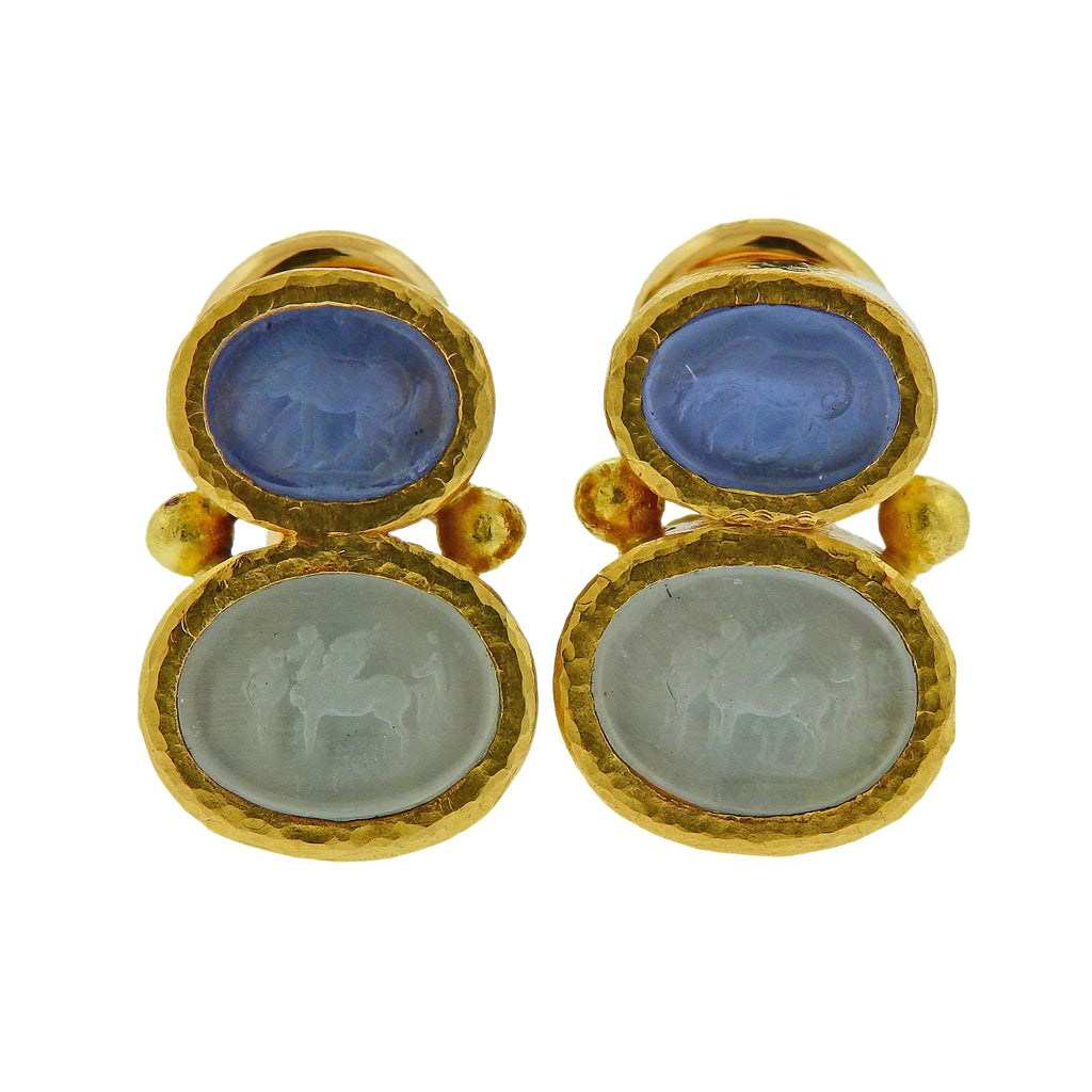 thumbnail image of Elizabeth Locke Venetian Glass Intaglio Gold Earrings