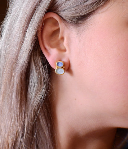 image of Elizabeth Locke Venetian Glass Intaglio Gold Earrings