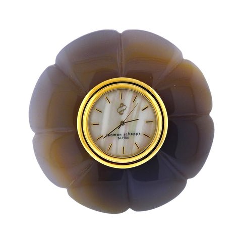 image of Seaman Schepps Carved Agate Mother of Pearl Clock