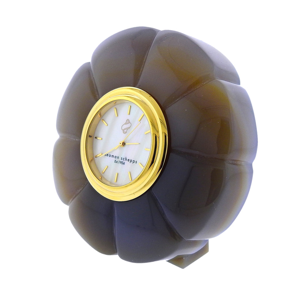 thumbnail image of Seaman Schepps Carved Agate Mother of Pearl Clock