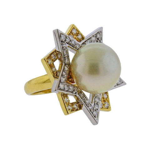 image of South Sea Pearl Diamond Gold Platinum Cocktail Star Ring