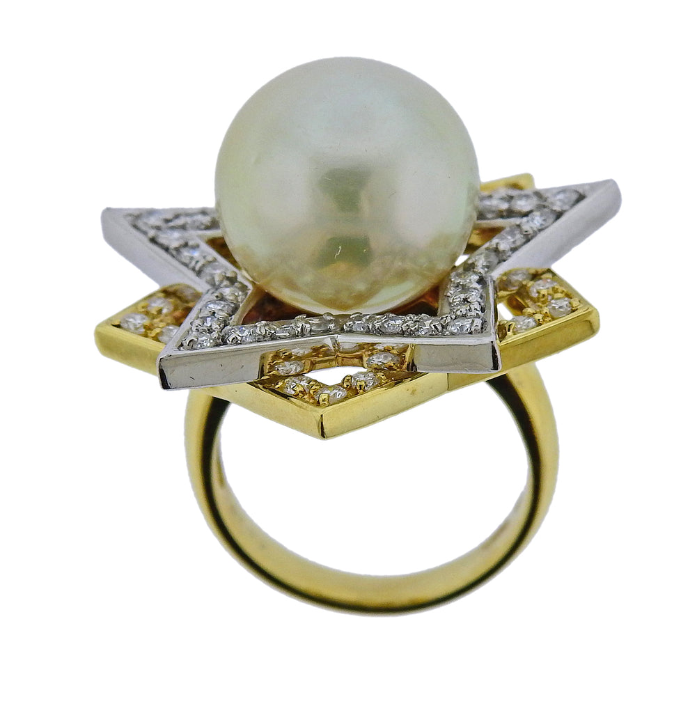 thumbnail image of South Sea Pearl Diamond Gold Platinum Cocktail Star Ring
