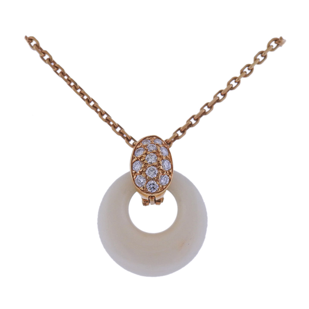 thumbnail image of Van Clef & Arpels Coral Diamond Gold Pendant Necklace