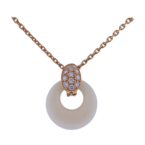 image of Van Clef & Arpels Coral Diamond Gold Pendant Necklace