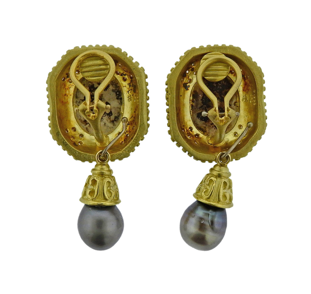 thumbnail image of Doris Panos Diamond Pearl Coin Gold Night & Day Earrings