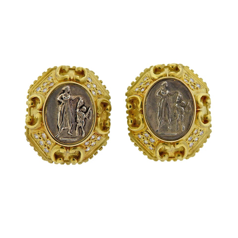 image of Doris Panos Diamond Pearl Coin Gold Night & Day Earrings