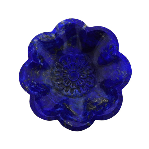 image of Seaman Schepps Craved Lapis Lazuli Floral Fluted Bowl