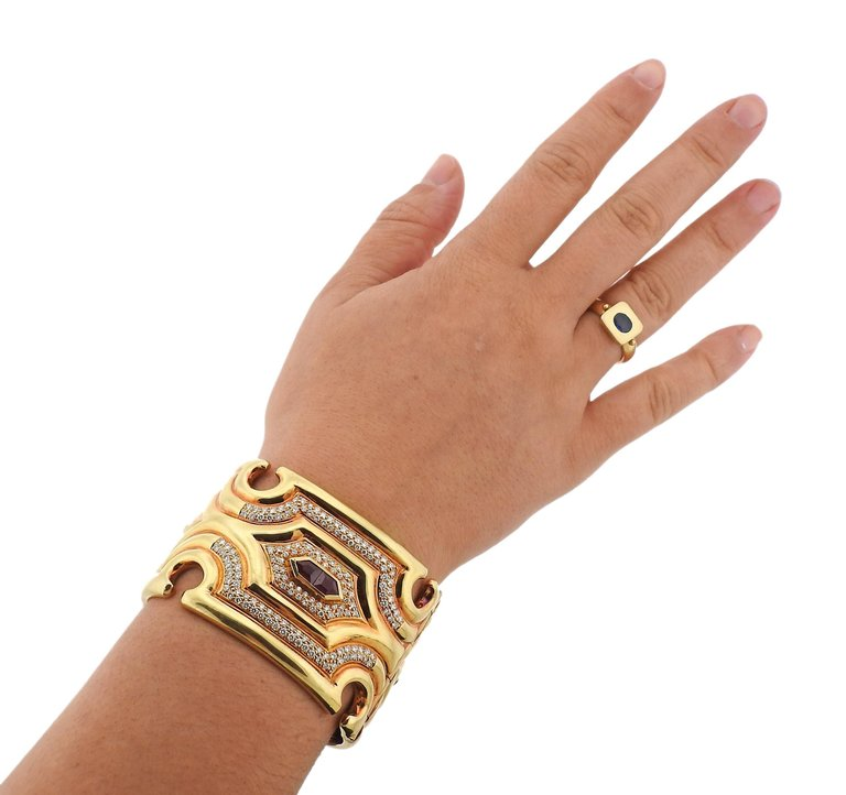 thumbnail image of Massive Diamond Ruby Gold Wide Cuff Bracelet
