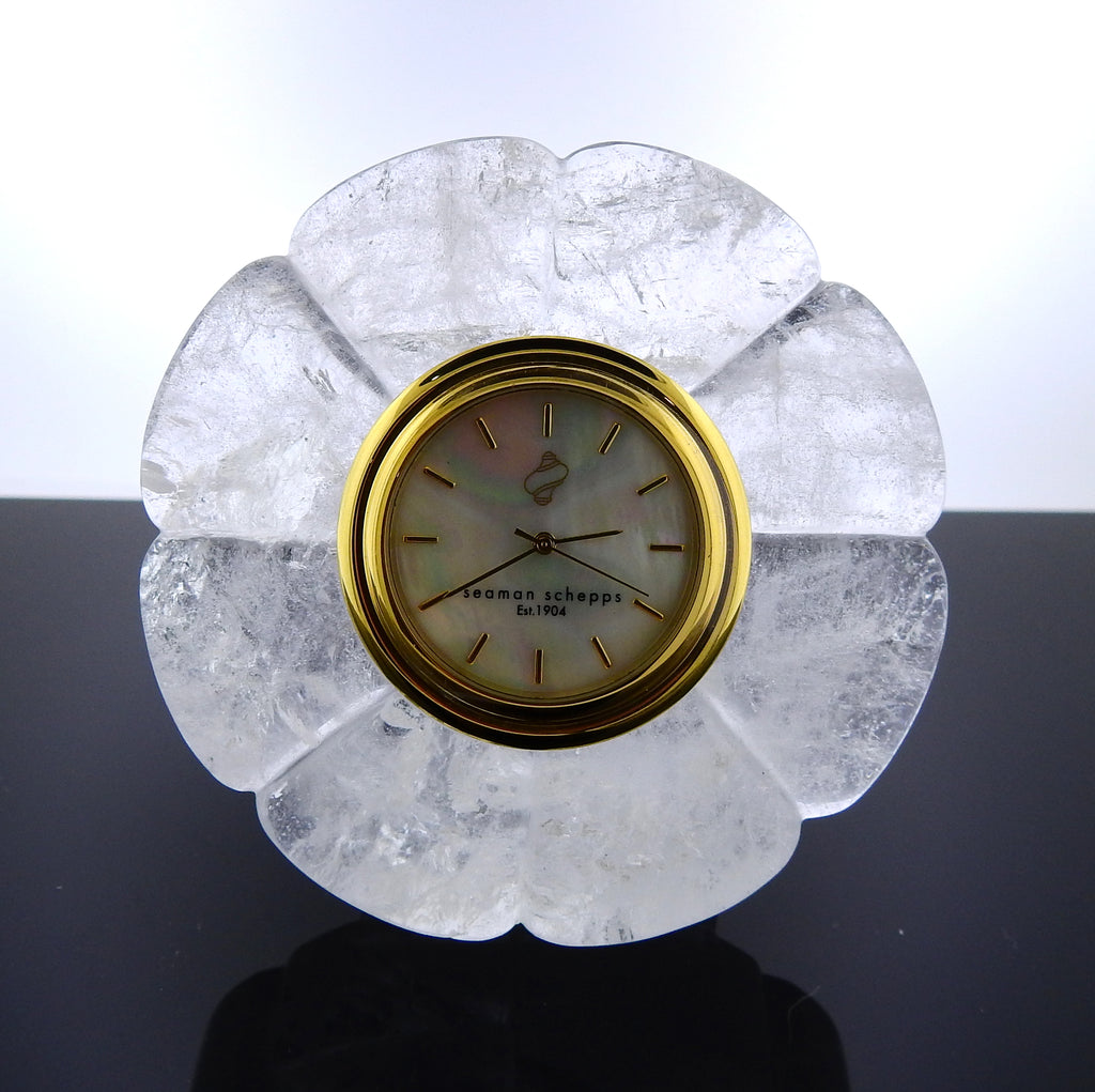 thumbnail image of Seaman Schepps Carved Crystal Mother of Pearl Clock