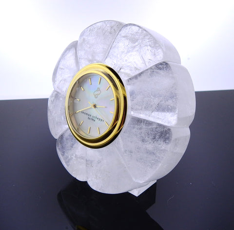 image of Seaman Schepps Carved Crystal Mother of Pearl Clock