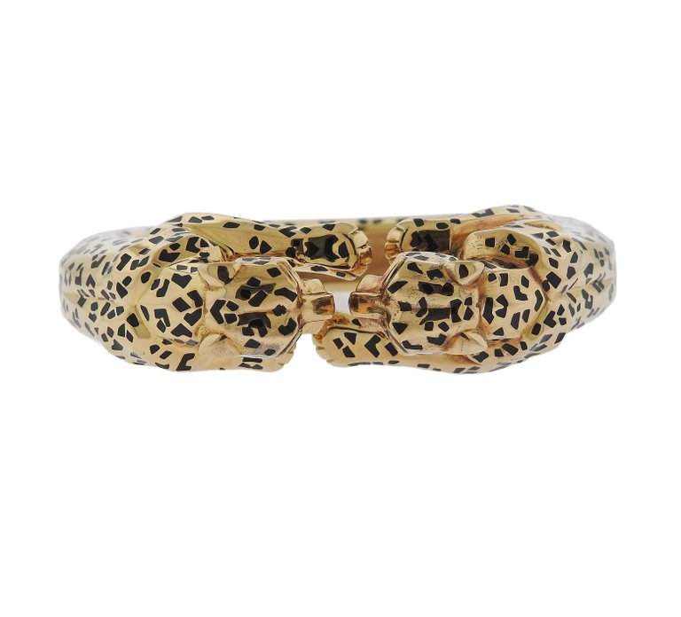 thumbnail image of Rare Cartier Paris Panther Black Enamel Gold Bangle