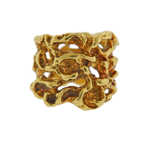 image of Arthur King 1970s Gold Free Form Band Ring
