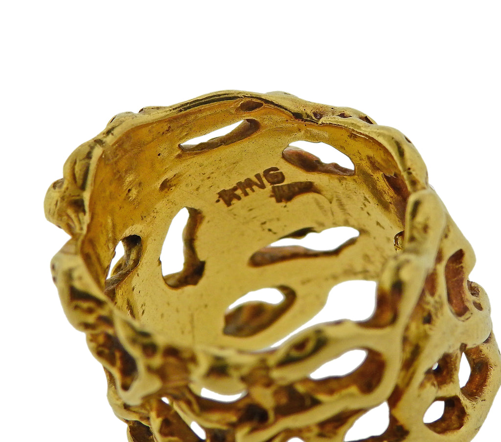 thumbnail image of Arthur King 1970s Gold Free Form Band Ring