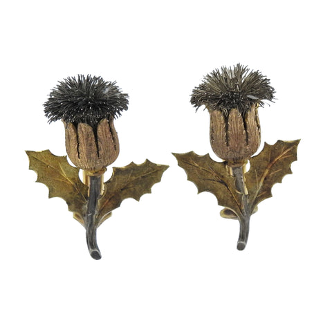 image of Buccellati Gold Silver Thistle Earrings