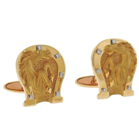 image of Carrera y Carrera Diamond Gold Horse Shoe Cufflinks