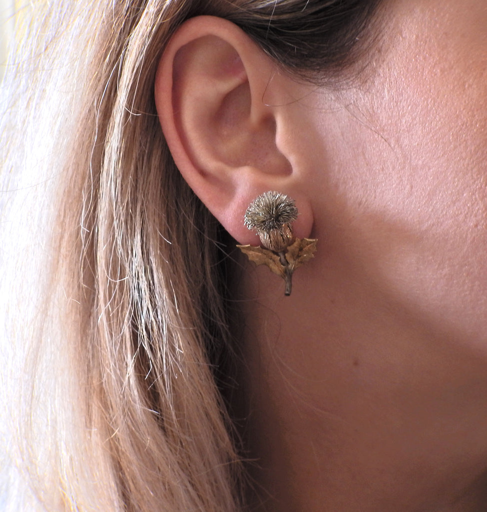 thumbnail image of Buccellati Gold Silver Thistle Earrings