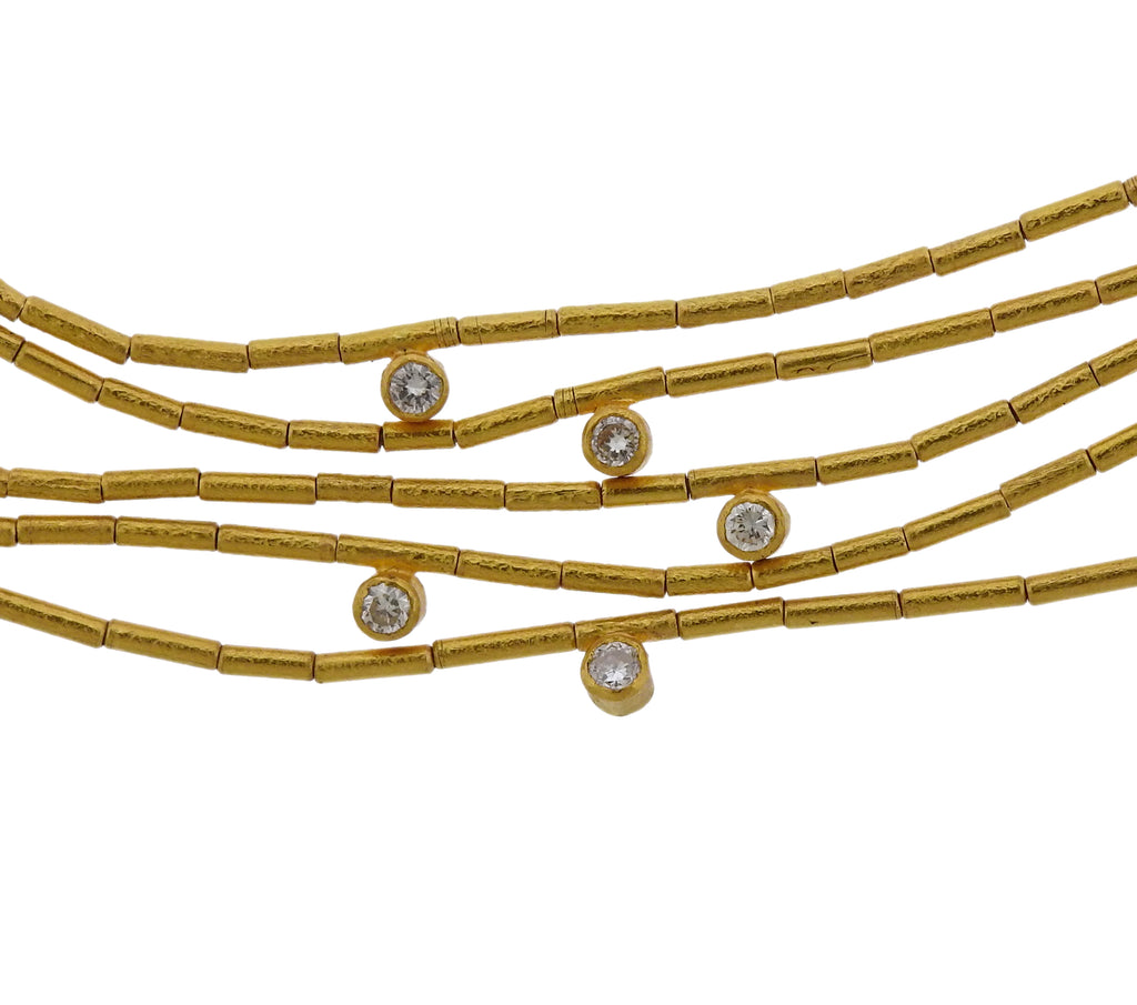 thumbnail image of Yossi Harari Olympia 24k Gold Diamond Multi Strand Necklace