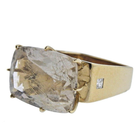 image of H. Stern Sunrise Rutilated Quartz Diamond Gold Ring