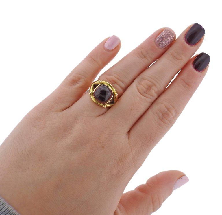 thumbnail image of Elizabeth Locke Pink Tourmaline Gold Ring