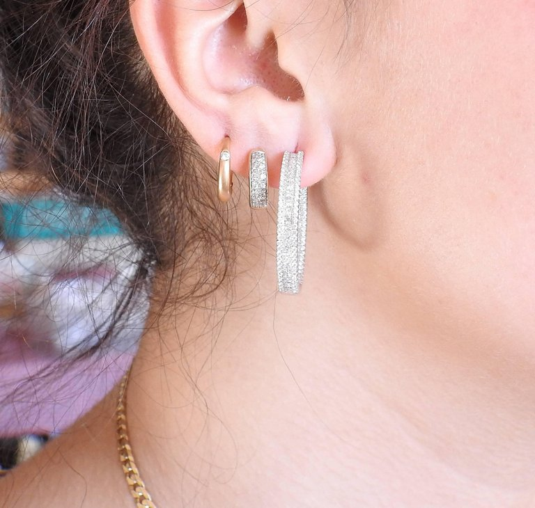 thumbnail image of Diamond Inside Out Gold Hoop Earrings