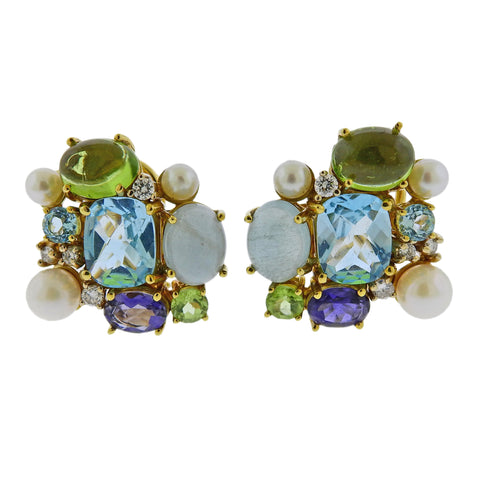 Maz Pearl Iolite Topaz Aquamarine Diamond Peridot Gold Earrings