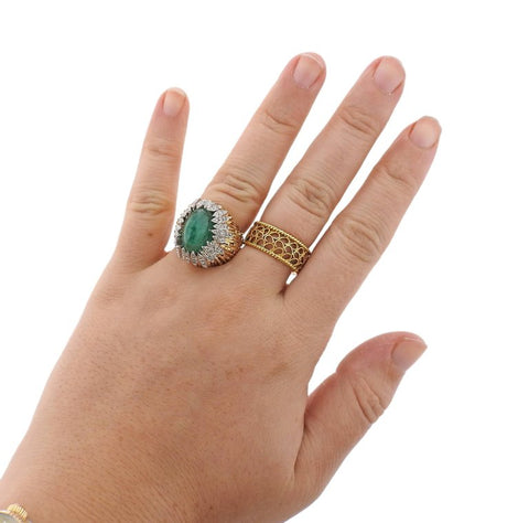 image of Andrew Grima Emerald Diamond Gold Ring