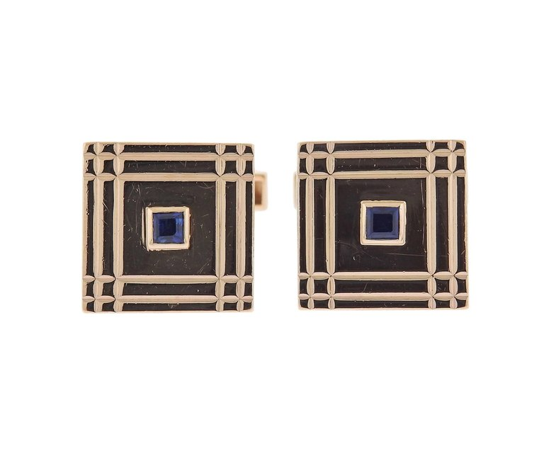 thumbnail image of Van Cleef & Arpels Sapphire Gold Cufflinks