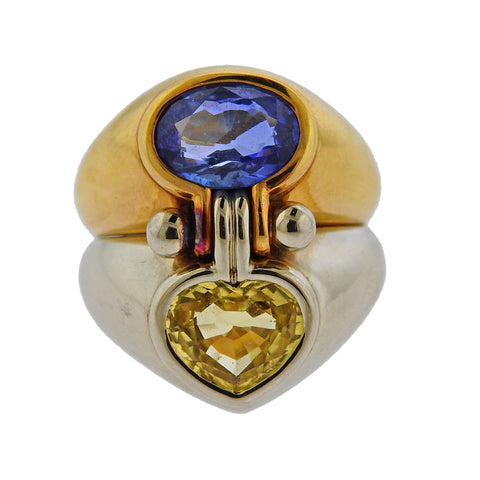 image of Bulgari Yellow Blue Sapphire Gold Ring