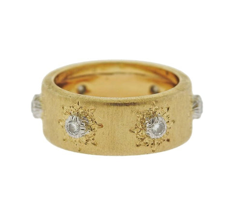 image of Buccellati Diamond 18 Karat Gold Wedding Band Ring