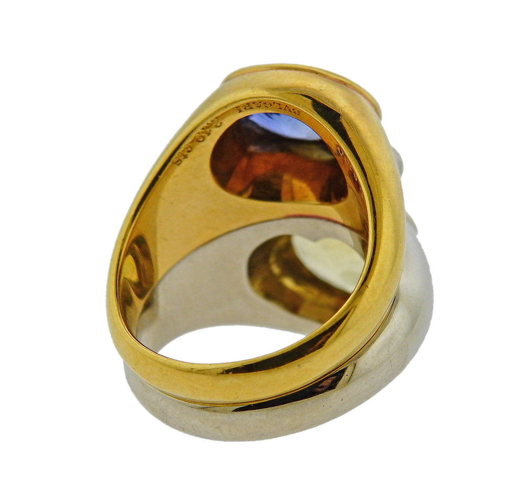 thumbnail image of Bulgari Yellow Blue Sapphire Gold Ring