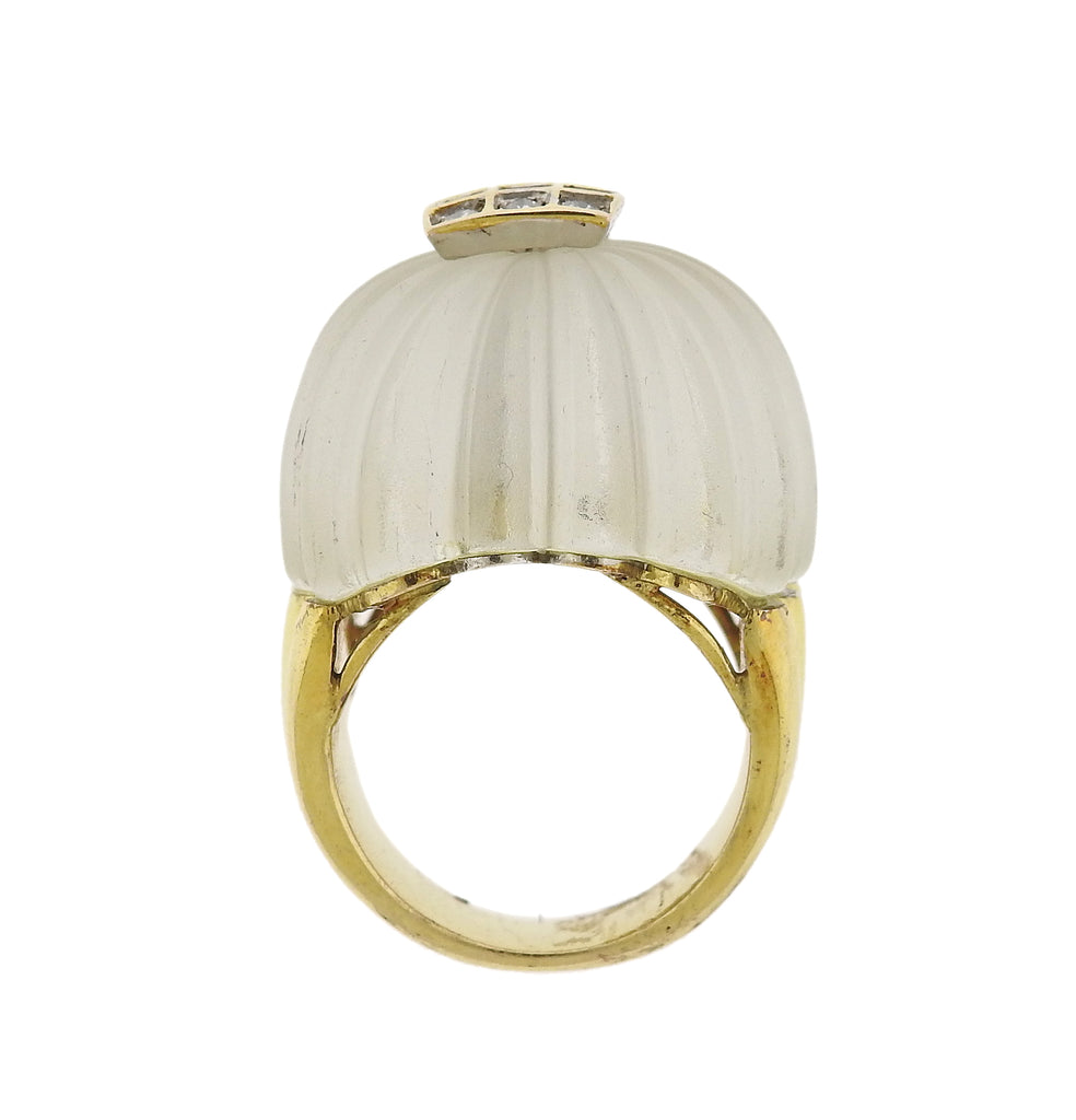 thumbnail image of Carved Frosted Crystal Diamond Gold Ring