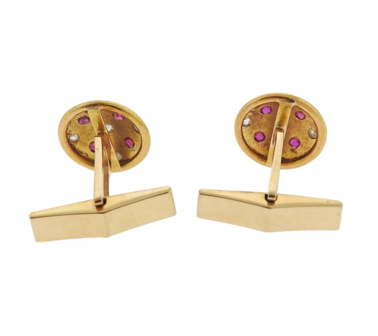 thumbnail image of Antique Rose Cut Diamond Ruby Gold Cufflinks