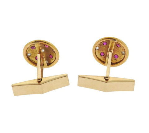 image of Antique Rose Cut Diamond Ruby Gold Cufflinks