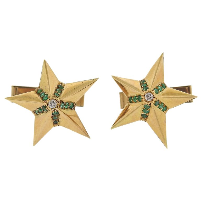 thumbnail image of Midcentury Diamond Emerald Gold Star Cufflinks